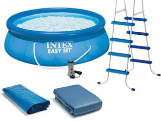 Intex 15  x 48  Inflatable Easy Set Above Ground Swimming Pool  ladder And Pump