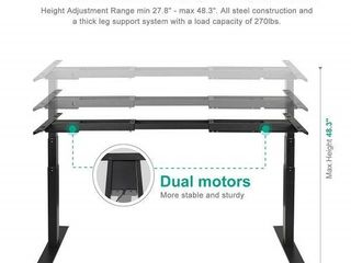 EleTab Electric Dual Motor Standing Desk Frame ElTBAD 01