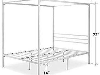 Queen Canopy Bed Frame Strong Steel Slats Metal Four Poster Top Platform Sagging   WHITE