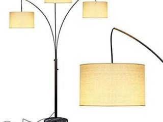 Brightech Trilage Arc Floor lamp w Marble Base   3 lights Hanging Over The Couch from Behind   Multi Head Arching Tree lamp   for Mid Century  Modern   Contemporary Rooms   Oil Rubbed Bronze