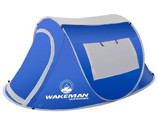 Wakeman Outdoors Pop up Tent 2 Person  Water Resistant Barrel Style Tent For Fly