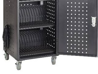 ECR4Kids 30 Bay locking laptop and Tablet Charging Station Cart with Keypad Entry  Computer Charging Station Cabinet  Secure Storage  Portable  Assembly Required  Black
