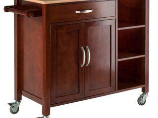 Mabel Kitchen Cart Wood Walnut Natural   Winsome