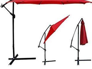 Patio Umbrella Offset 10  Hanging Umbrella Outdoor Market Umbrella D10  Red