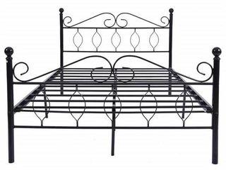 Black Full Size Vintage Metal Bed