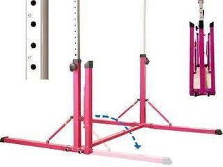 PreGymnastic Foldable   Movable Gymnastics Kip Bar Junior Training Bar Stainless Steel Regulating Arm   Strong Fiberglass Rail   HOT PINK