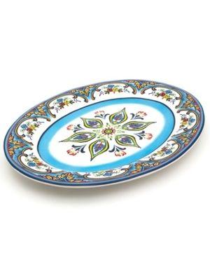 Euro Ceramica Zanzibar 18 inch Floral Oval Platter