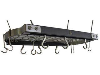 J K  Adams 24 Inch Oval Hanging Pot Rack  Grey  Retail 175 00