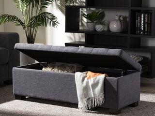 Baxton Studio Alcmene Dark Grey Fabric Tufted Storage Ottoman Bench  Retail 149 99