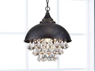 Visalia Antique Black Single light Crystal Chandelier  Retail 131 99