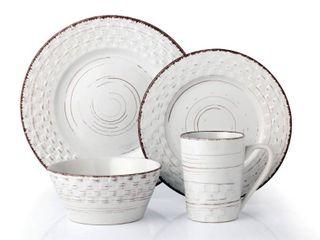 lorren Home Trends 16 Piece Distressed Weave Dinnerware Set White  Retail 84 99