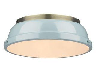 Golden lighting Duncan Aged Brass Seafoam Shade 14 inch Flush mount Fixture  Retail 95 00