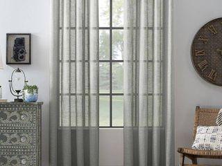 Single panel Archaeo Slub Textured linen Blend Grommet Top Curtain