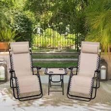 3 PCS Zero Gravity Chair Folding lounge Table Chair Set  Retail 155 99
