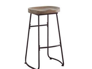 Backless Bar Stool Driftwood and Dark Bronze