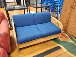 Blue love Seat with Wood Frame
