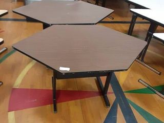lot of 2 Hexagon Shaped Tables