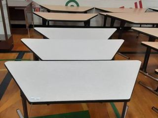 lot of 3 Trapezoid Shaped Tables