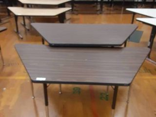 lot of 2 Trapezoid Shaped Tables