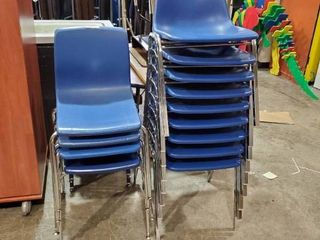 lot of Blue Plastic Chairs