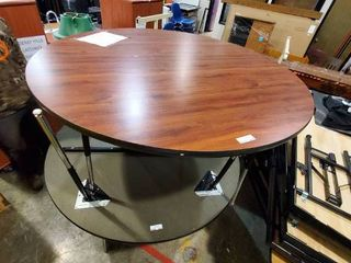 2 adjustable height round tables