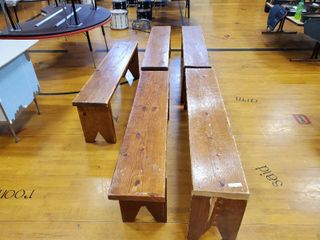 lot of 5 Matching Wooden Benches