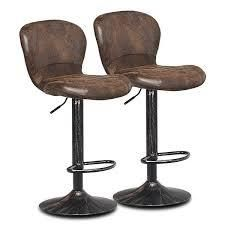 costway Set of 2 Adjustable Swivel Bar Stool with Footrest Retro Style  Retail 173 49 brown