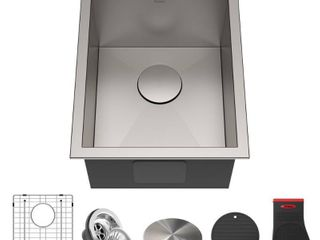 KRAUS Pax Stainless Steel 14 1 2 in 1 Bowl Undermount Kitchen Bar Sink  Retail 199 95