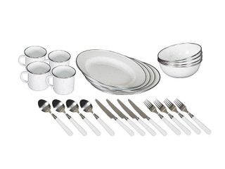 Stansport Enamel Camping Tableware Set   24 Piece in White