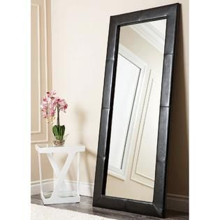 Abbyson Delano Black leather Floor Mirror  Retail 279 99