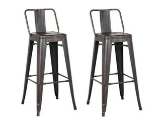 24 Inch Industrial Metal Barstool  Set of 2    Retail 99 99