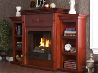 Southern Enterprises Tennyson Mahogany Gel Fireplace with Bookcases