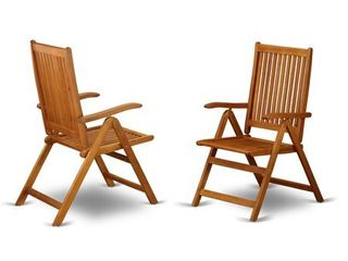BCNC5NA 5 Position Outdoor patio foldable Side Chair Solid Acacia Wood Set of 2  Retail 164 88