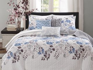 Madison Park Raven 6 Piece Quilted Coverlet Set  Retail 100 56