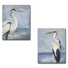 Blue Heron on Blue I   II by Patricia Pinto 2 pc Gallery Wrapped Canvas Giclee Art Set  24 in x 18 in Each Canvas in Set  Retail 208 49