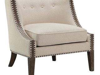 Madison Park Reese Cream Foam Upholstered Wooden Accent Chair  Retail 406 49
