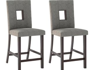 Corliving Bistro Dining Chairs  Grey Sand Fabric  Set of 2