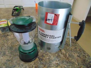 Plastic lantern and Xl Charcaol Chimney starter