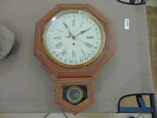 Wrigley Regulator Clock   Woring   needs glass   Key and Pendulum present
