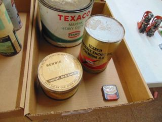 Texaco Grease Can and Vintage Tins