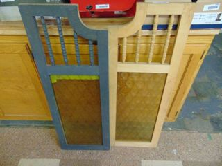 Pair of Vintage Salloon Doors   with Glass Inserts