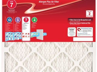 Honeywell 16 in  x 25 in  x 1 in  Allergen Plus Pleated FPR 7 Air Filter  2 Pack