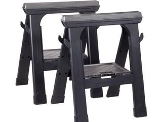 Husky Heavy Duty 27 3 in  Folding Sawhorse  2 Pack