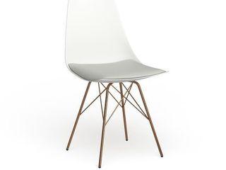 Carson Carrington Huskvarna Faux leather Mid century Bucket Chair with Gold Chrome Base  Retail 107 10