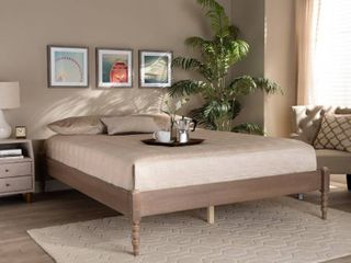 Cielle French Bohemian Wood Platform Bed Frame  Retail 274 49