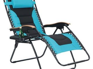 PHI VIllA Oversize Xl Padded Zero Gravity lounge Chair Wider Armrest Adjustable Recliner with Cup Holder  Support 350 lBS  Retail 126 49