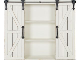 Kate and laurel Cates Rustic Wood Wall Storage Cabinet with Barn Doors  Retail 199 99