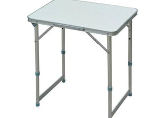 Outsunny 23  Aluminum lightweight Portable Folding Easy Clean Camping Table with Carrying Handle   Height Adjustability