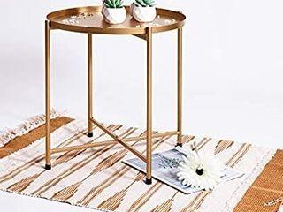 Foldable Round Multi Purpose Side Accent Metal Table  Matte Black
