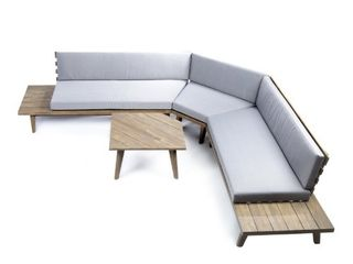 Hillcrest Outdoor 2 piece Wood Sectional Sofa Set with Cushion by Christopher Knight Home  Retail 1272 49